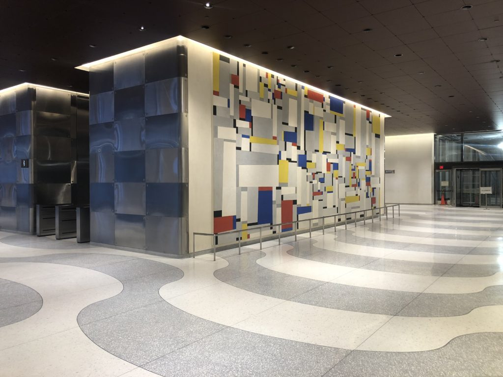 "A photo of the restored ""Relational Painting #88,"" Fritz Glarner's 1960 work of art in the lobby of 1271 Avenue of the Americas, April 2019."