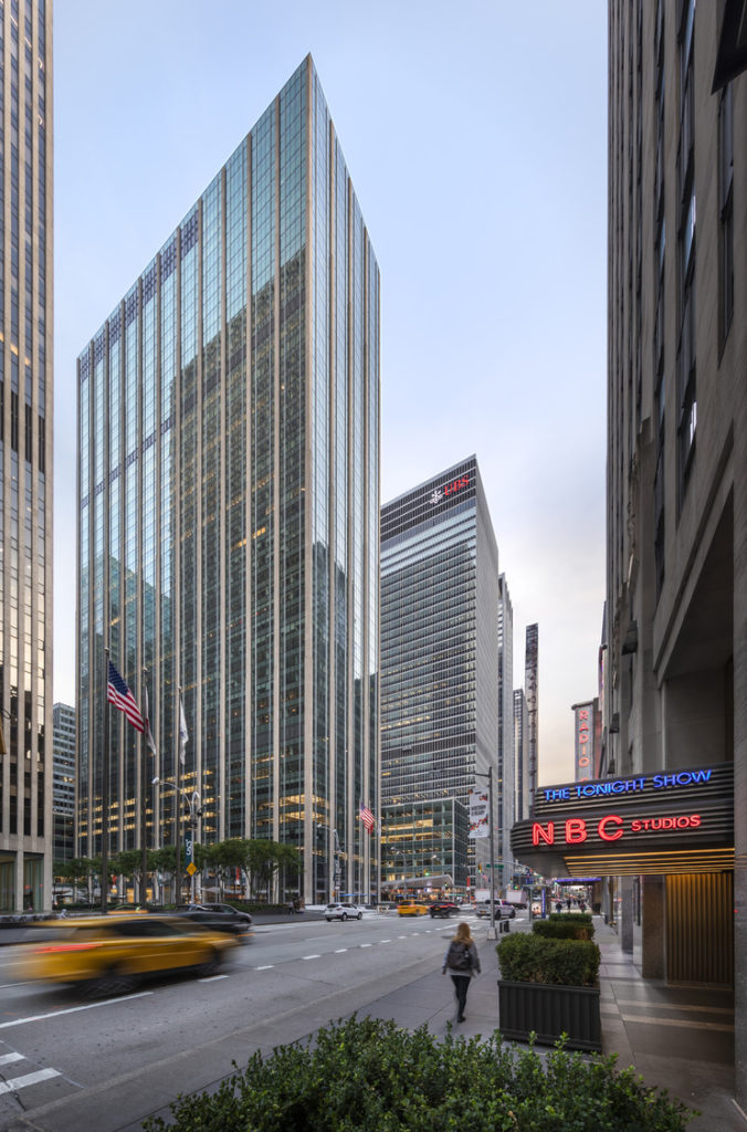 The 48-story 1271 Avenue of the Americas, as seen from the east side of Sixth Avenue.